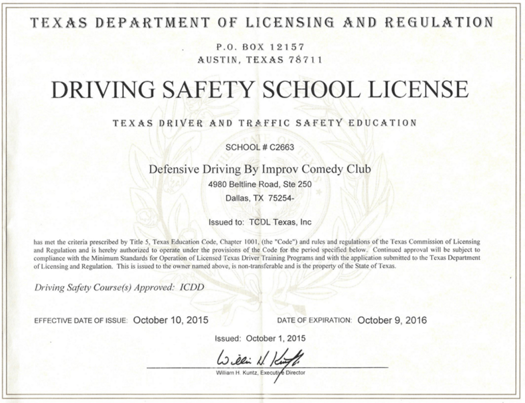 photo regarding Defensive Driving Course Online Texas Printable Certificate called Defensive Behind as a result of Improv Comedy Club